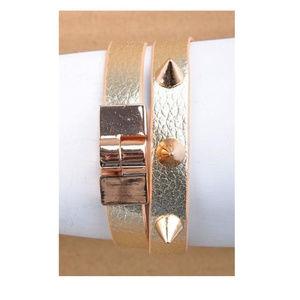 Gold Metallic Spiked Wrap Bracelet